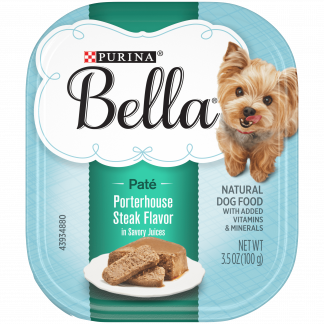 (12 Pack) Purina Bella Natural Small Breed Pate Wet Dog Food, Porterhouse Steak Flavor in Savory Juices, 3.5 oz. Trays