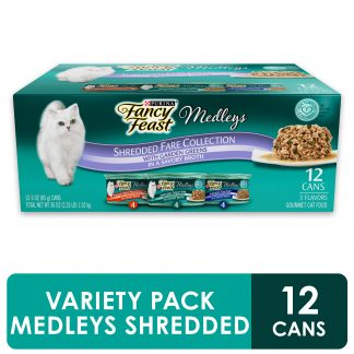 (12 Pack) Fancy Feast Wet Cat Food Variety Pack, Medleys Shredded Fare Collection, 3 oz. Cans