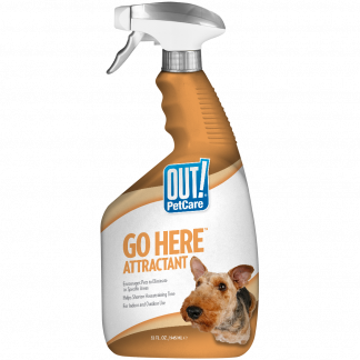 OUT! PetCare Go Here Attractant Indoor and Outdoor Dog Training Spray | House-Training Aid for Puppies and Dogs | 32 oz