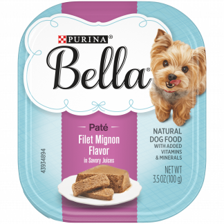 (12 Pack) Purina Bella Natural Small Breed Pate Wet Dog Food, Filet Mignon Flavor in Savory Juices, 3.5 oz. Trays