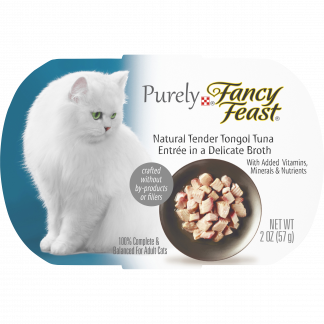 (10 Pack) Fancy Feast Natural Wet Cat Food, Purely Natural Tender Tongol Tuna Entree, 2 oz. Trays