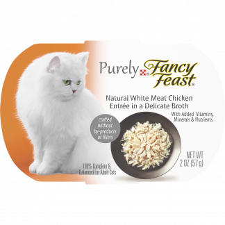 (10 Pack) Fancy Feast Natural, Grain Free Wet Cat Food, Purely Natural White Meat Chicken Entree, 2 oz. Trays