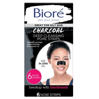 6 Count, Biore Charcoal Deep Cleansing Pore Strips, Normal to Oily Skin