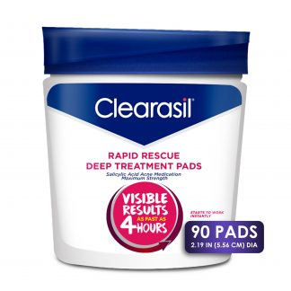 Clearasil Salicylic Acid Rapid Rescue Deep Treatment Acne Pads, 90 count