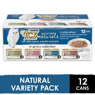 (12 Pack) Fancy Feast Natural Gravy Wet Cat Food Variety Pack, Gourmet Naturals in Gravy Collection, 3 Oz. Cans