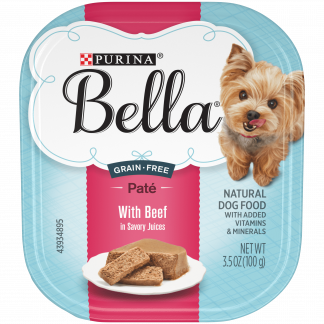 (12 Pack) Purina Bella Grain Free Natural Small Breed Pate Wet Dog Food, With Beef in Savory Juices, 3.5 oz. Trays