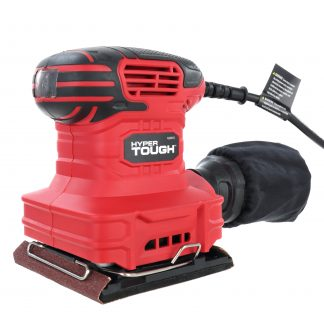 Hyper Tough 2 AMP Corded 1/4 Sheet Palm Sander with Dust Bag, Vacuum Hose Adapter, Punch Plate & 3 Sanding Sheets (60, 80 & 120 Grit)
