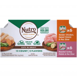 (12 Pack) NUTRO Adult High Protein Natural Grain Free Wet Dog Food Cuts in Gravy Tender Chicken, Sweet Potato & Pea Stew, Roasted Turkey, Potato & Pea Stew Variety Pack, 3.5 oz. Trays