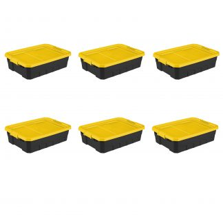 Sterilite 10 Gal. Stacker Tote Yellow Lily Set of 6