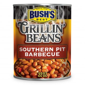 Bush's Grillin' Beans Southern Pit Barbeque, Plant-Based Protein, Canned Beans in Sweet & Smoky Sauce, 22 oz
