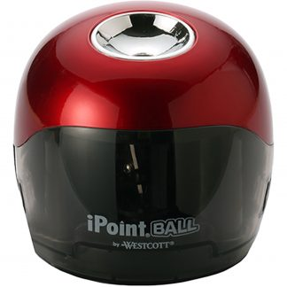 Westcott Ipoint Ball Battery Pencil Sharpener, Red/Black, 1-Count