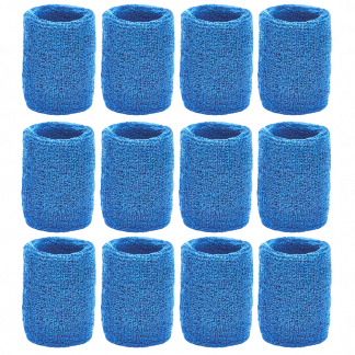 Unique Sports Athletic Performance Team Pack of 12 Wristbands (6 pair) - Blue
