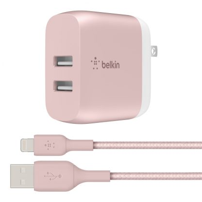 Belkin BOOSTCHARGE 24W Dual USB A Wall Charger + USB A Cable, Silver, 5ft