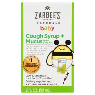 Zarbee's Naturals Baby Cough Syrup + Mucus, Natural Grape, 2 fl. Oz.
