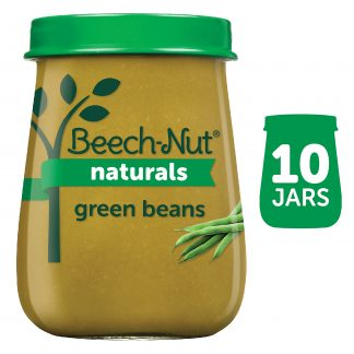 (10 Pack) Beech-Nut Naturals Stage 1, Green Beans Baby Food, 4 oz Jar