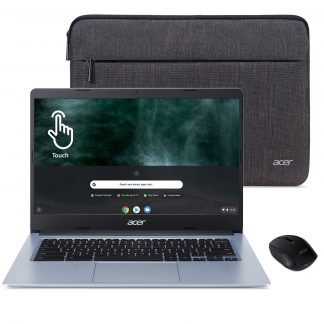 """Acer 14"""" Touchscreen Chromebook, Intel Celeron N4020, 4GB RAM, 32GB HD, Protective Sleeve, Wireless Mouse, Chrome OS, Silver, CB314-1HT-C934"""