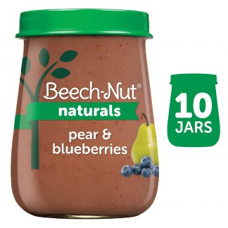 (10 Pack) Beech-Nut Naturals Stage 2, Pear & Blueberries Baby Food, 4 oz Jar