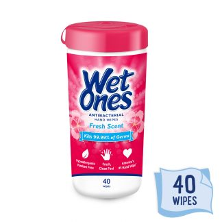 (6 Pk) Wet Ones Antibacterial Hand Wipes Canister, Fresh, 40 Ct