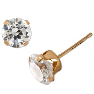 Brilliance 10K Gold-Plated Cubic Zirconia Stud Earrings