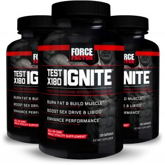 Test X180 Ignite Total Testosterone Booster for Men with Fenugreek Seed and Green Tea Extract to Increase Libido, Burn Fat, Build Lean Muscle, and Improve Performance, Force Factor, 120 Capsules