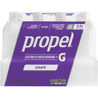 (12 Bottles) Propel Flavored Water with Electrolytes, Grape, 16.9 fl oz