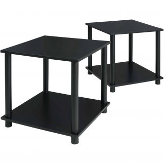 Mainstays No Tools 2-Pack End Table, Solid Black