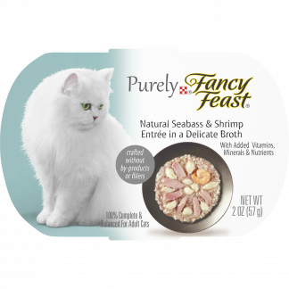 (10 Pack) Fancy Feast Natural Wet Cat Food, Purely Natural Seabass & Shrimp Entree, 2 oz. Trays
