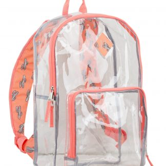 Eastsport Multi-Purpose Clear Unisex Backpack with Front Pocket, Adjustable Straps and Lash Tab