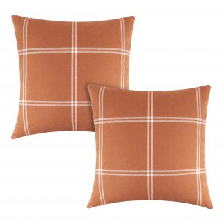 Better Homes & Gardens Reversible Windowpane Plaid to Solid Decorative Throw Pillow Cover, 2 Pack