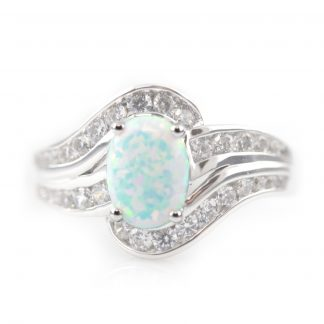 Tiger Jewellery Sterling Silver Created Opal and Cubic Zirconia Oval Ring