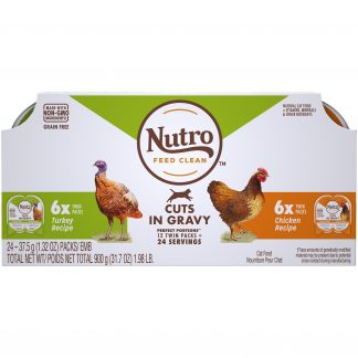 (12 Pack - 24 Servings) NUTRO Grain Free Natural Wet Cat Food Pate Turkey Recipe and Chicken Recipe Variety Pack, 2.64 oz. PERFECT PORTIONS Twin-Pack Trays