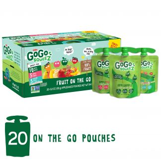 GoGo squeeZ Applesauce Pouches, Apple Apple, Apple Peach, Gimme Five, 20 Pack