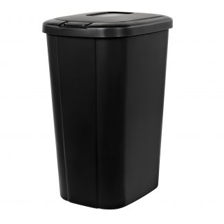 13.3-gal Hefty Touch Lid Trash Can, Black with Decorative Texture
