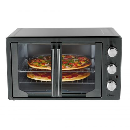 Oster French Door Convection Toaster Oven, Countertop Oven, Metallic & Charcoal