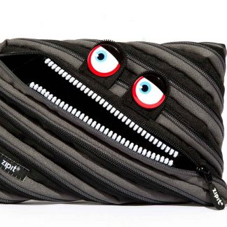ZIPIT Wildlings Large Pencil Case for Kids, Pouch Holds up to 60 Pens, Made of One Long Zipper! (Blue)