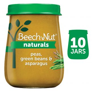 (10 Pack) Beech-Nut Naturals Stage 2, Peas Green Beans & Asparagus Baby Food, 4 oz Jar