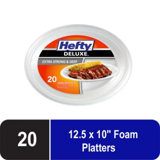 Hefty Deluxe Extra Strong and Deep Foam Platters, Oval, White, 10x12 Inch, 20 Count