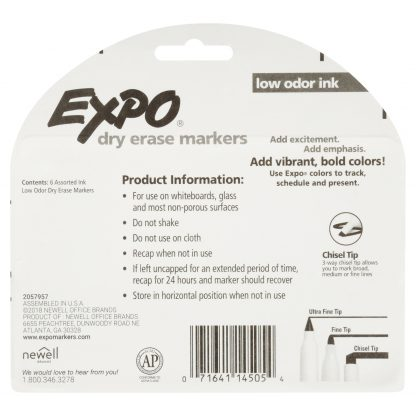 Expo Low Odor Dry Erase Markers, Chisel Tip, Fashion Colors, 6 Count