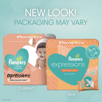 Pampers Expressions Baby Wipes, Fresh Bloom Scent, 3 Flip-Top Packs (168 Total Wipes)
