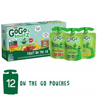GoGo squeeZ Applesauce Pouches, Apple Apple, Apple Banana, Apple Strawberry, 12 Pack