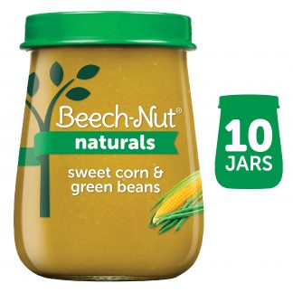(10 Pack) Beech-Nut Naturals Stage 2, Sweet Corn & Green Beans Baby Food, 4 oz Jar