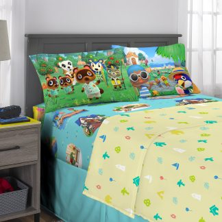 Animal Crossing Animation Microfiber Percale Bedding Sets, Twin