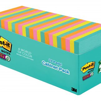 Post-it Super Sticky Notes, 3 in x 3 in, Miami Collection, 24 Pads