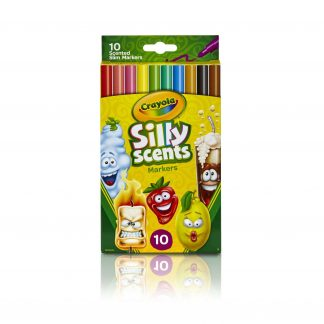 Crayola Silly Scents Slim Markers, Washable Scented Markers for Kids, 10 Count