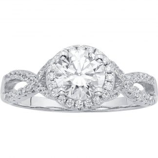 1/2 Carat T.G.W. Australian Crystal and CZ Sterling Silver Engagement Ring