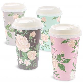 48 Pack Vintage Floral Insulated Disposable Coffee Cups with Lids, 16oz Paper Hot Cup to Go for Tea Party Supplies, Bridal Shower