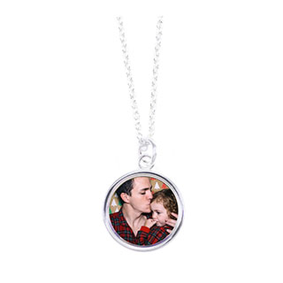 Sterling Silver Plated Round Photo Necklace