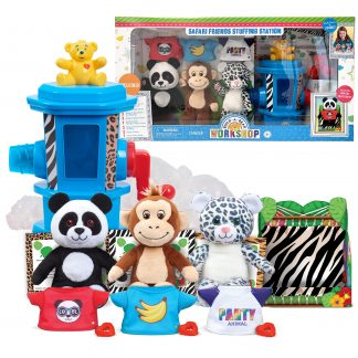 Build-A-Bear Workshop Safari Friends Stuffing Station, 21 Pieces, Leopard, Monkey, and Panda, Accessories, Ages 3 Up, by Just Play
