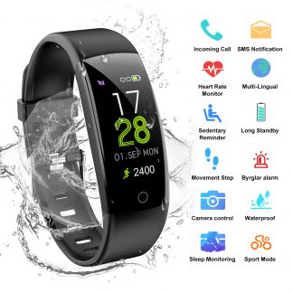 AGPtEK V07 Waterproof Fitness Tracker Smart Wristband Heart Rate Monitor OLED Display For IOS Android Smartphone