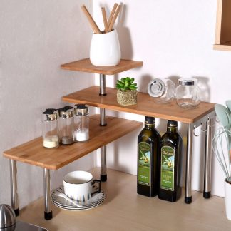 3 Tier Kitchen Desktop Corner Shelving Unit Bamboo and Stainless Steel Kitchen Storage with 4 Hooks Saving Space for Office Organize